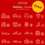 ファッション系デザインに最適 ウェア&シューズのフリーアイコンセット「Clothing and Footwear – FREE ICON SET」