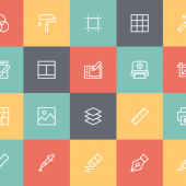 デザイナーが使うアイテムやデザインソフトの各種ツールをモチーフにしたアイコンセット 15