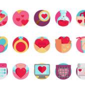 バレンタインのデザインに活用できるフリーアイコンセット「Valentine's Day Icon Set」