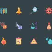 学校や塾などの教育関係のデザインに 化学や科学をテーマにしたサイエンスアイコンセット「Radical Science Icons」