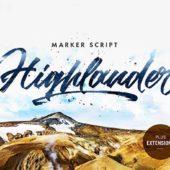 マーカーで描いたようなラフテイストにデザイン性を感じるスクリプトフォント「Highlander Marker Script」