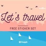 """旅が楽しくなるトラベルイメージのステッカーセット「 Freebie: """"Let's Travel"""" Sticker Set (28 Stickers, AI & EPS)」"""