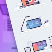 デザイナーワークスペースを表現できる フリーイラストレーションセット「Designer Workspace Illustrations」