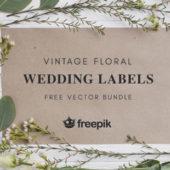 花のモチーフが可愛らしいウェディングイメージのベクター素材「Free Floral Wedding Vector Labels」