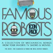 有名なロボットキャラクターを丸いフォルム可愛らしくリメイクしたアイコンセット「Freebie: The Famous Robots Icon Set (20 Icons, AI, SVG & PNG)」