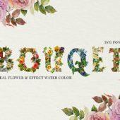 豪華な花柄が美しいSVGフォント「Flower Bouquet SVG Font」