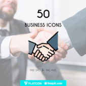 ビジネスシーンで活用できるフリーのアイコンセット「Free Line & Flat Business Icon Set (50 Icons, PNG & SVG)」