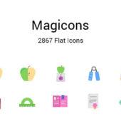 ポップなカラーが魅力的なフラットアイコンセット「Magicons: 2867 Flat Icons」