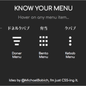 スマホアプリのメニューでよく使用されるあのアイコンの名前、ハンバーガーとかケバブとかミートボールとか