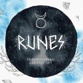 神秘的なモチーフをラフな雰囲気で表現した素材セット「Free scandinavian runes artistic set」