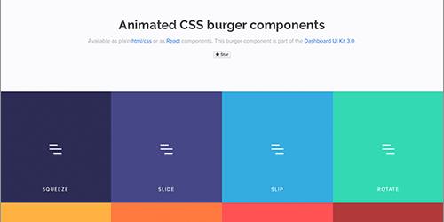 ハンバーガーメニューを簡単に実装できる、プレーンなHTML/CSSとReactコンポーネント -Animated Burgers