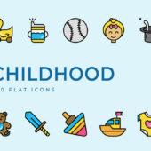 子どもをイメージしたフリーフラットアイコンセット「Download free Childhood flat icons set」