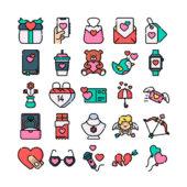 バレンタインを楽しく演出するフリーアイコンセット「50 free valentines themed icons」