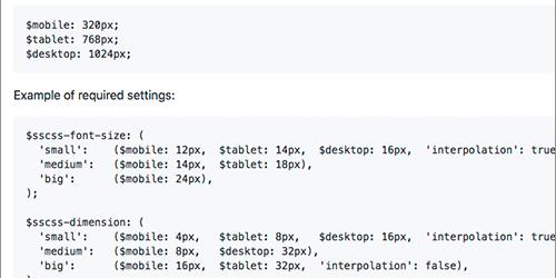レスポンシブ用にfont-size, margin, paddingなど、プロパティの値を一元管理できるSassの超軽量ライブラリ -SSCSS