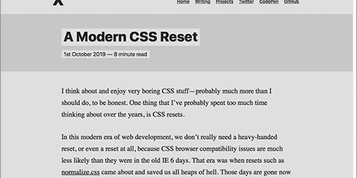 古いCSSリセットからはもう卒業!モダンブラウザに適した新しいCSSリセット -A Modern CSS Reset