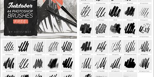 商用利用無料!カリグラフィ、ラインアートなど、さまざまなインクの質感で描けるPhotoshopのブラシ素材