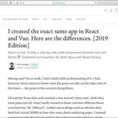 ReactとVueの比較、全く同じアプリを作成してみて分かった相違点 2019年Edition