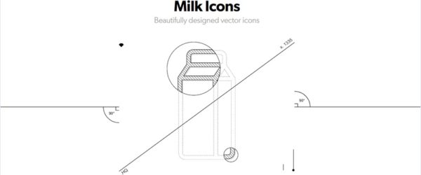 1000以上のシンプルな線画と色付きのアイコンをセットで配布する・「Milk Icons」