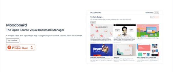 Veu.jsで作られたオープンソースのサムネイル付きオンラインブックマークマネージャ・「Moodboard」