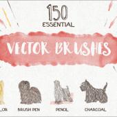 犬のもふもふ感を描く、150種類以上の癒やし系ブラシ素材 -Essential Vector Brushes Collection