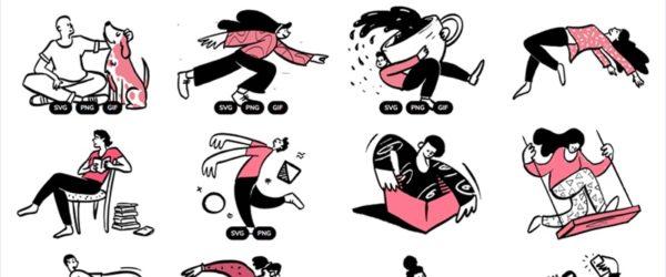 CC0ライセンスで配布される、ゆるいスタイルのイラスト集・「Open Doodles」