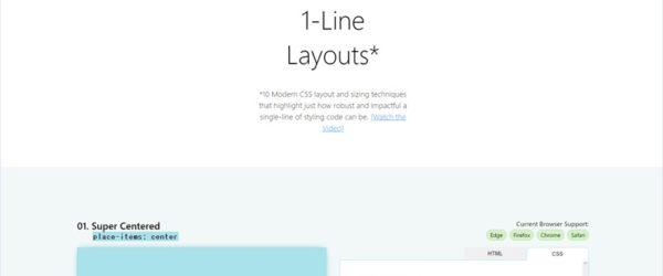 FlexboxやCSS Gridでよく用いられるレイアウトのコードを提供する・「1-Line Layouts*」