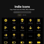 コピー&ペーストで使えるシンプルなアイコンのセット・「Indie Icons」