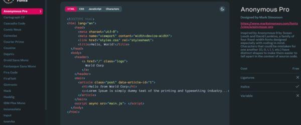 CSS-Tricksによるコーディングに最適なフォントのまとめ・「Coding Fonts 」