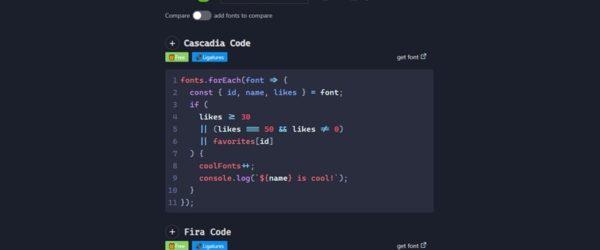 プログラミング向けの様々なフォントを、実際にコードを書いて試せる・「Dev Fonts」