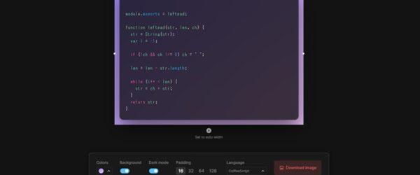 コードを画像化してダウンロードできるWebアプリ・「Ray.so」